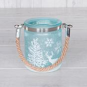 Blue Ice Look Candle Holder S