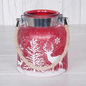 Red Ice Look Candle Holder Large