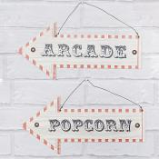 Popcorn/Arcade Hanging Arrow Plaques Set of Two