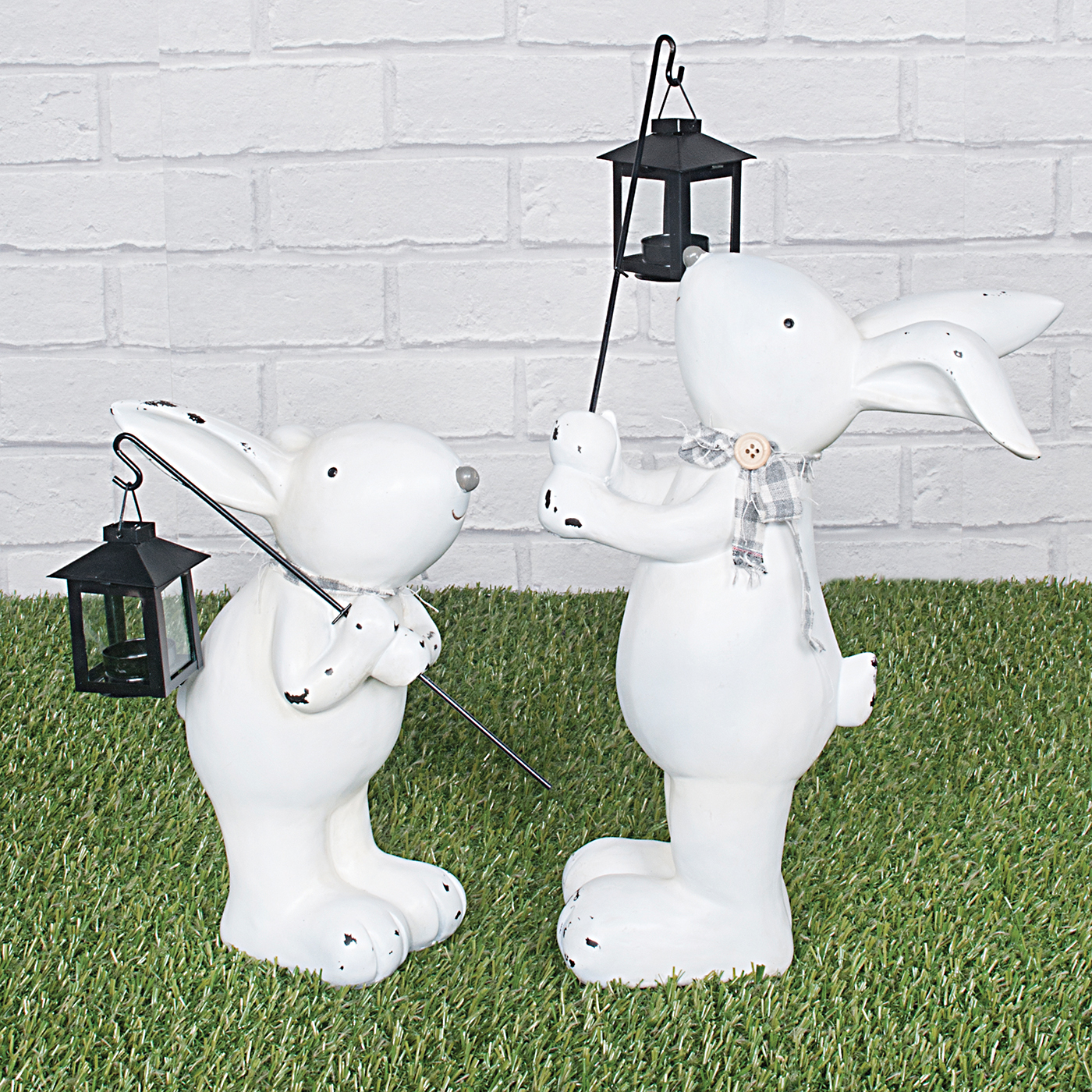 White Rabbit with lantern Set of Two
