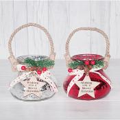 Rope & Holly Xmas Candle Holders Set of Two