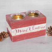 Red Wood Merry Christmas Candle Holder