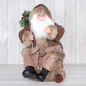 Santa in Brown Coat Sitting