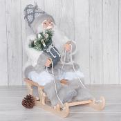 Grey and White Santa in Sleigh
