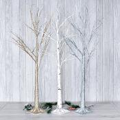 Silver/Gold/White Glitter LED Trees Set Of Three (Large)