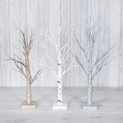 Silver/Gold/White Glitter LED Trees Set Of Three (Small)