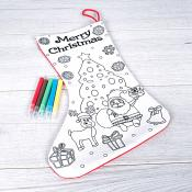 Colour Your Own Xmas Stocking with 5 washable markers