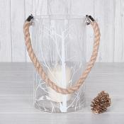 Winter Tree Rope Candle Holder Large