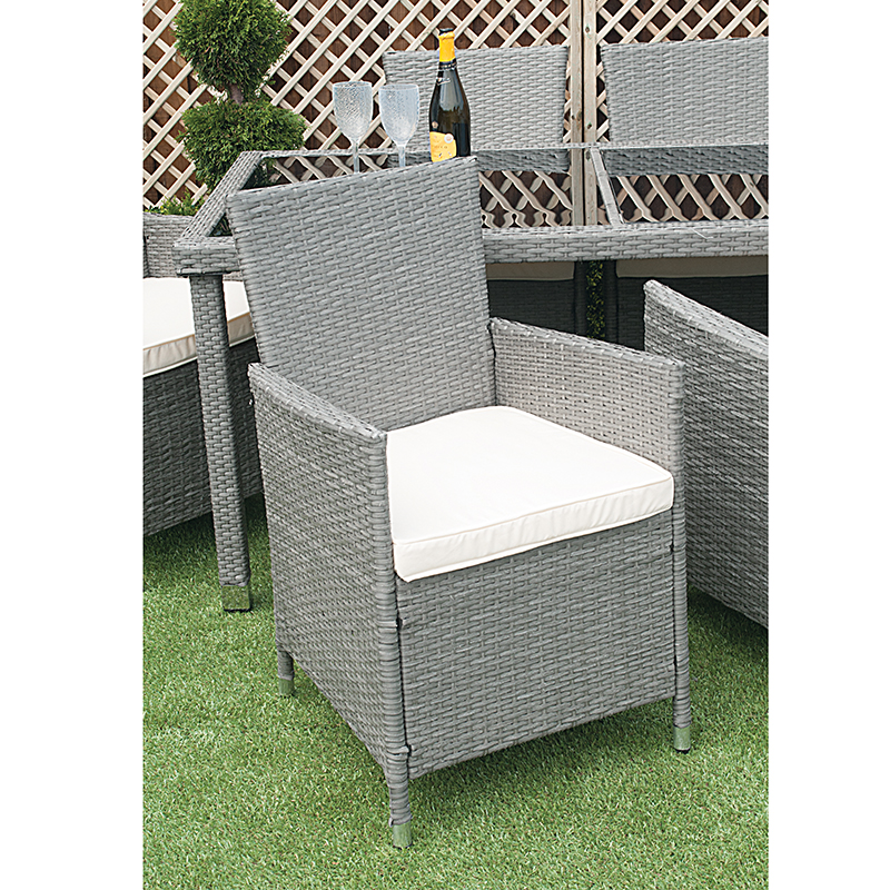 Grey Rattan Dining Set 6 Person Chair close up