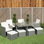 Grey Rattan 4 Chair 4 Stool Table Set
