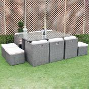 Grey Rattan 6 Chair 4 Stool Table Set