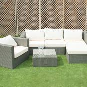 Rattan Grey Sofa Set With Stool And Single Chair