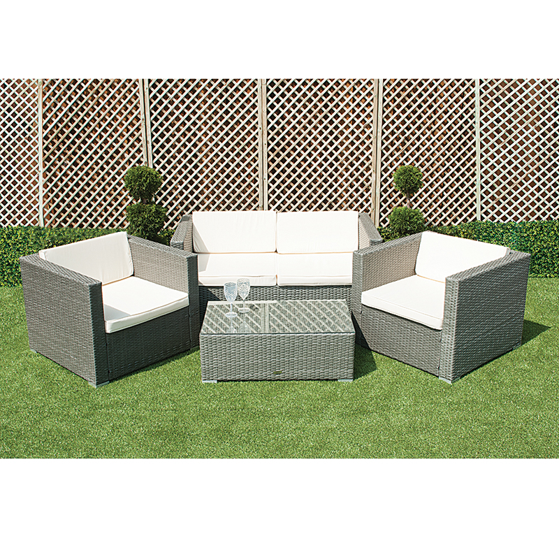 Grey Rattan Sofa And Chair Set With Table
