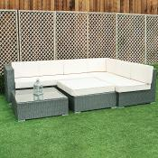 Rattan Grey Corner Sofa Set With Stool And Table
