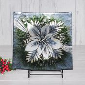 Silver Poinsettia Curved Glass Plate Medium