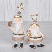 Gold Candy Cane Santa Set of Two