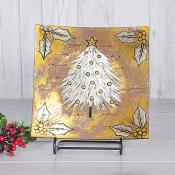 Gold Christmas Tree Curved Glass Plate Medium