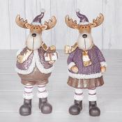 Purple Standing Reindeer (Large)  Set of Two