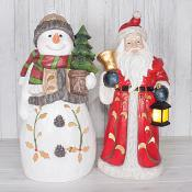 Santa & Snowman with LED (X-Large)