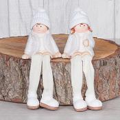 Girl & Boy with Fabric Legs Set of Two