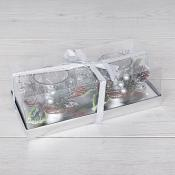 Boxed Decorative 2 Silver Tea Light Holders