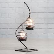 Black Swirl Lamp with Two LED Bulbs