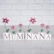 Red Flower Sentiment Blocks Mum & Nana