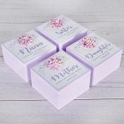 Pink Flower Sentiment Box Set Of Four