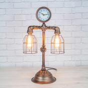 Double steampunk lamp and clock