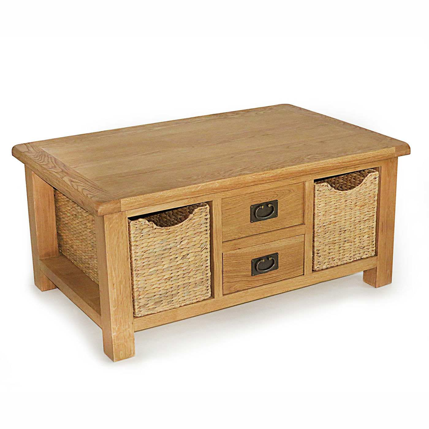 Large coffee table with drawer and baskets