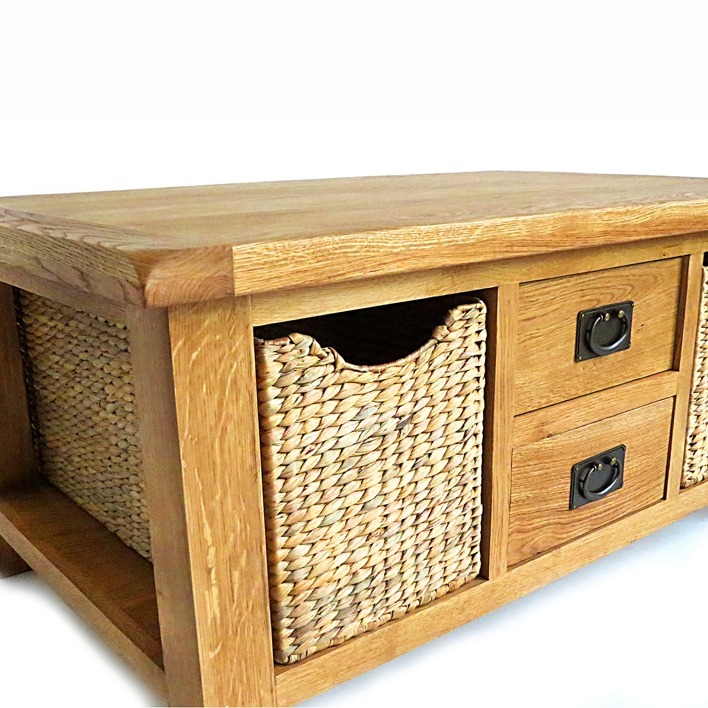 Large coffee table with drawer and baskets 1